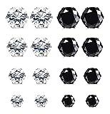 YADOCA 8 Pares Acero Inoxidable Pendientes Iman Hombres Mujer Pendientes Magnéticos Diamante Circonita Falso Pendientes Clip Aretes Non Piercing Plata Negro 5-8MM
