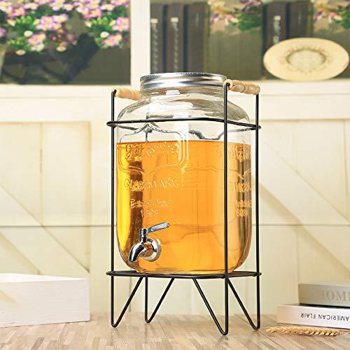 QQRH Wasserspender Glas Getränkespender aus Glas Drinks Dispenser mit Zapfhahn Limonadenspender Wasserspender mit Hahn inklusive Gestell aus Metall Vintage Design Mason Jar