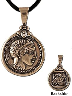 Athena Tetradrachm Silver Coin Replica Sterling Silver Greek Pendant (26mm) w/ leather cord
