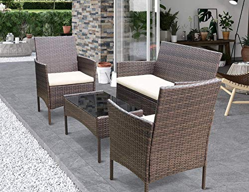 Greesum 4 Pieces Patio Furniture Sets, Rattan Wicker Chair, Outdoor Conversation Sets for Garden Balcony Porch Poolside with Glass Coffee Table, Brown and Beige