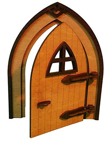 Bollicar beliebteste Wichteltür, Feentür, Mäusetür, Elfentür aus Holz Zum öffnen mit Lustigem Wichtel