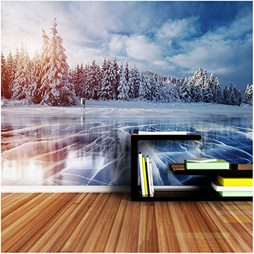 Yologg Fondo De Pantalla 3D Winter Cracks Pines Blue Sky Frozen Lake Ice Livingroom Decor Mural-350X250Cm