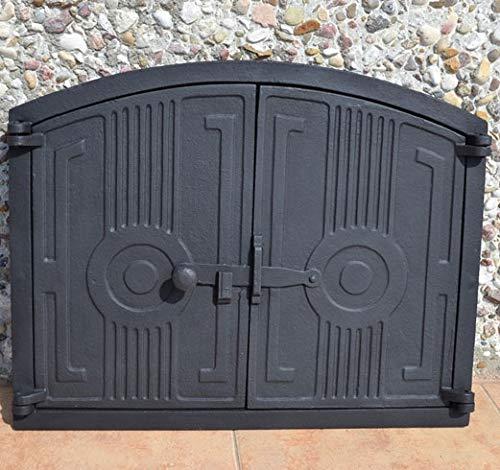 PUR Schamotte Ofentür aus Gusseisen 48 x 38 cm schwarz
