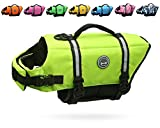 Vivaglory Dog Life Jacket, Ripstop & Reflective Dog Life Preserver with Enhanced Buoyancy & Rescue Handle, Bright Yellow, XS