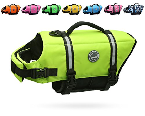 Vivaglory Dog Life Jacket Size Adjustable Dog Lifesaver Safety Extra Bright Yellow Vest Pet Life...