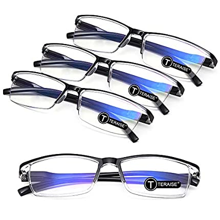 TERAISE 4PCS Moda Gafas de lectura con luz anti-azul Lectores de calidad Gafas para lectura para hombres y mujeres Computadora / teléfono celular Bloqueo de luz azul Gafas de lectura Marco(2.0X)