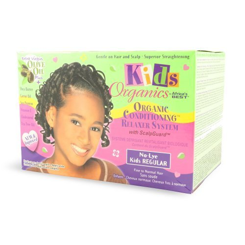 Africa's Best Kids Organics No-Lye Organic Conditioning Relaxer System with Scalp Guard for Fine to Normal Hair, Kids Regular Kids, Infant, Child, Bab