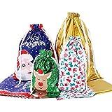 Amosfun Christmas Drawstring Gift Bags 30pcs Assorted Christmas Gift Wrapping Bags...