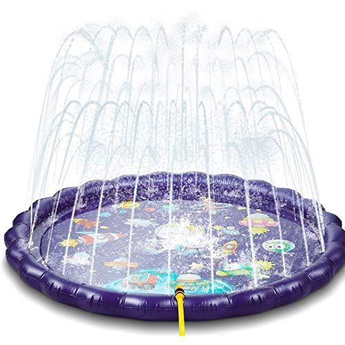 NextX Splash Pad Sprinkler 170cm, Wasser Sprinkler Matte/Sommer Garten Wasserpielzeug Outdoor, Pool Party Pad mit UFO Design für Kinder Familie Party