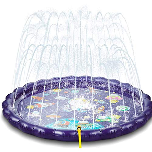 NextX Splash Pad/ 68'' Water Play Pad for Summer, Portable Kids Splash Pool for Outdoors Backyards Gardens, Water Splash Mat with UFO Design for Boys Girls …