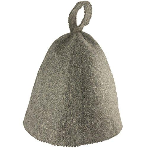 Saunahut - Farbe grau - 100% Baumwolle - Saunamütze aus Filz für Damen und Herren