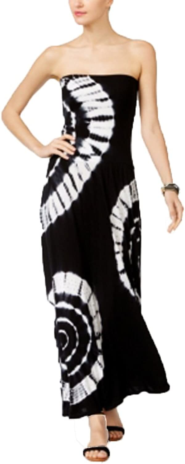 Inc Womens Black Congreenible Tie Dye Sleeveless Strapless Midi Fit + Flare Dress US Size  XL