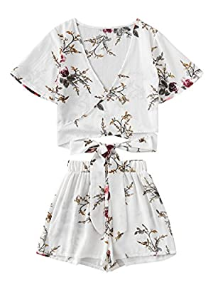 SweatyRocks Women's 2 Piece Boho Floral Print Crop Cami Top with Shorts Set White_Flower Small