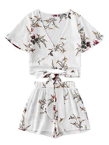 SweatyRocks Women's 2 Piece Boho Floral Print Crop Cami Top with Shorts Set White_Flower X-Large