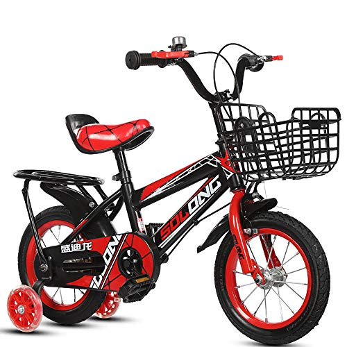 ZHIPENG 14/16/18 Inch Children Bike, 7 Speeds Disc Bike with Disc Bike Adult Bicycle Frame Mini Bicycle with Basket Folding Bicycle,Red,16 inches