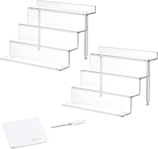 NIUBEE Acrylic Riser Display Shelf for Amiibo Funko POP Figures, Cupcakes Stand for Table,Cabinet, Countertops - 3-Tier, C...