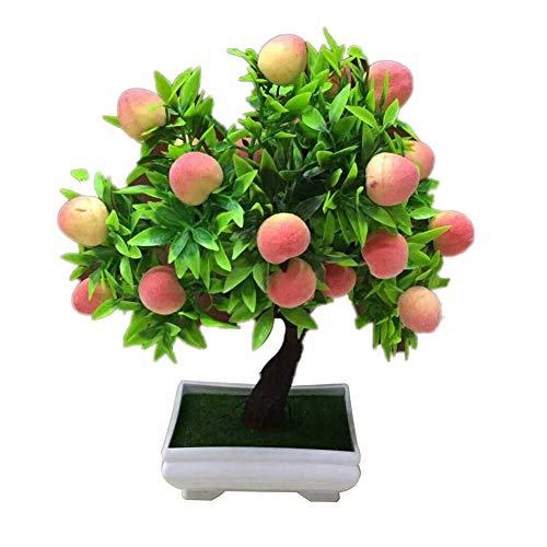 hwangli 1Pc Home Desktop Decor Artificial Potted Peach Fruit Tree Bonsai