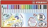 Rotulador punta de pincel STABILO Pen 68 brush - Estuche de metal con 25 colores