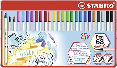 Premium-Filzstift mit Pinselspitze für variable Strichstärken - Stabilo Pen 68 brush - 25er Metalletui - mit 24 verschiedenen Farben
