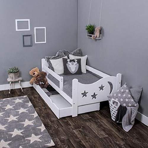 LULU MÖBELChrisi - Cama infantil completa con colchón (160 x 80 cm, somier y cajón, para niños a partir de 2 años), color blanco