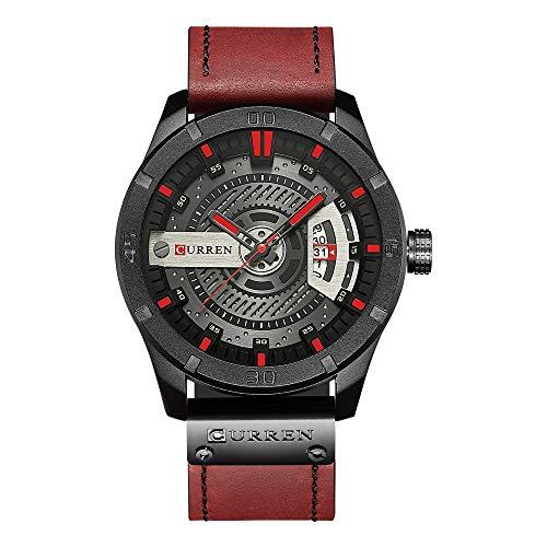 Curren Herren Quarzuhr Analog mit Datumsanzeige,Casual Sport wasserdichte Leder Armbanduhren 8301 (rot)