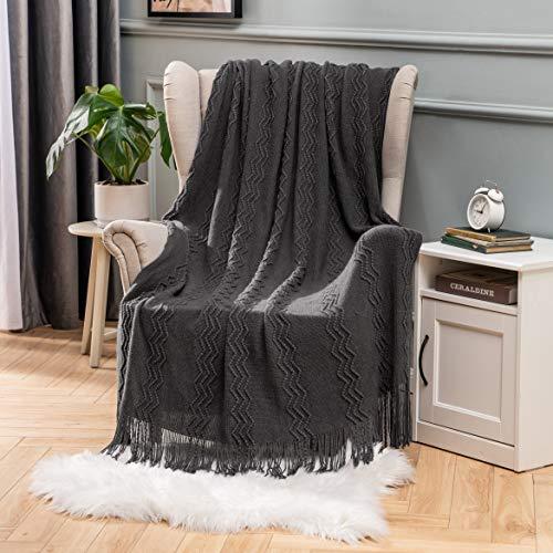 MIULEE Mantas Cama Mantas de Punto de Tejido Diseño Ondulado Suave Cálida Comoda para Adultos y Niños Manta Anti-Frio de Invierno para Descanso Siesta Dormitorio Sofa 1 Pieza 125x150cm Gris Os
