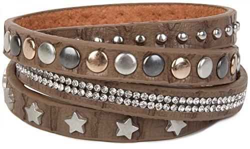 styleBREAKER Wickelarmband mit Strass, verschiedenen Nieten und Sterne, Armband, Damen 05040029, Farbe:Braun