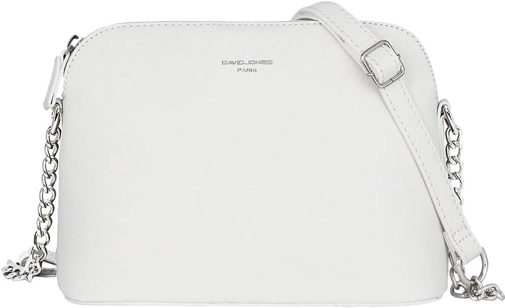David jones, elegante pochette a tracolla per donna, in ecopelle, bianca CM3900 WHITE