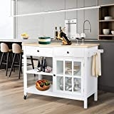 Petiture Kitchen Island Cart w/Rubber Wood Top, Island Table for Kitchen, Rolling Utility Trolley with Storage Drawer, Shelves and Cabinet for Dining Room (White)