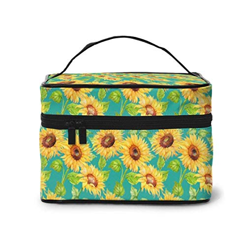 Makeup Bag Watercolor Suowers Portable Travel Cosmetic Bag Organizer Multifunction Case with Double Zipper Toiletry Bag for Woman (9'x6.2'x6.5')