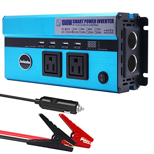 1000W Car Power Inverter DC 12V to AC 110V Converter with 2 Cigarette Lighter Sockets and Digital Display 2 AC Outlets and 4 USB Charging Ports fo