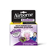 Elderberry Extract + Vitamin C - Airborne Effervescent Tablets (20 count in a box), Immune Support Supplement With Vitamins A C E, ZINC, Selenium, Echinacea, Ginger, Gluten Free, Sambucus, Antioxidant