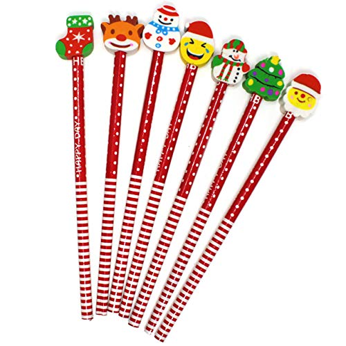 THE TWIDDLERS 50 Christmas Pencils with Eraser Toppers - Xmas Stocking Stuffers