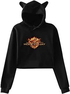Woman The Hunger Games Mockingjay Symbol Navel Exposure Hooded Cat's Ear Long Sleeve Fashion Sweater Black