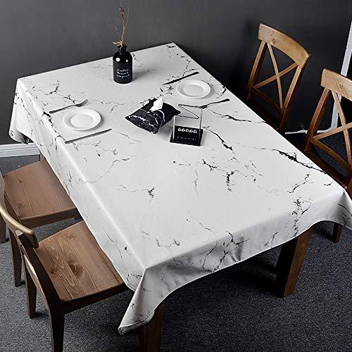 Creek Ywh Nordic in marmeren tafelkleed, rond, rechthoekig, voor studenten, eettafel, katoen en linnen, wit, 140 x 100 cm