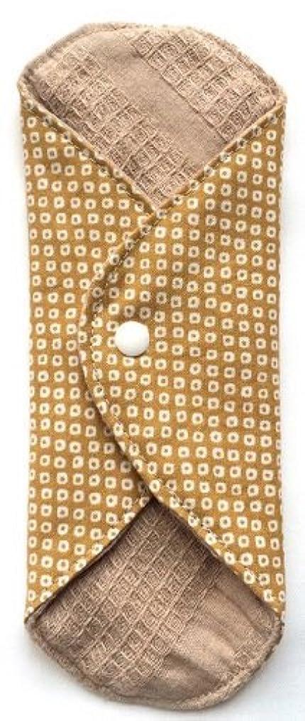 ロビーきゅうり振る華布 オーガニックコットンのあたため布 Mサイズ(約15×約15cm) 鹿の子柄(辛子)