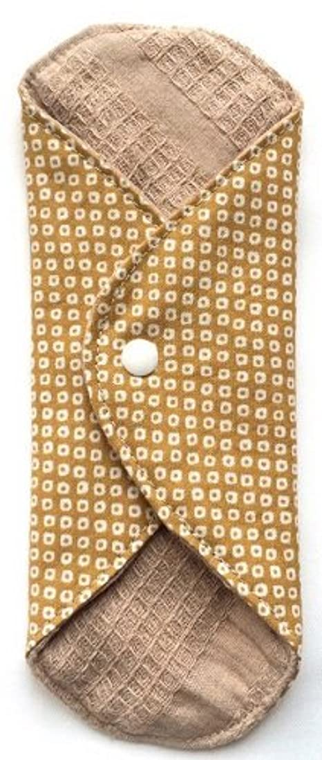 帳面ブランク呼びかける華布 オーガニックコットンのあたため布 Mサイズ(約15×約15cm) 鹿の子柄(辛子)