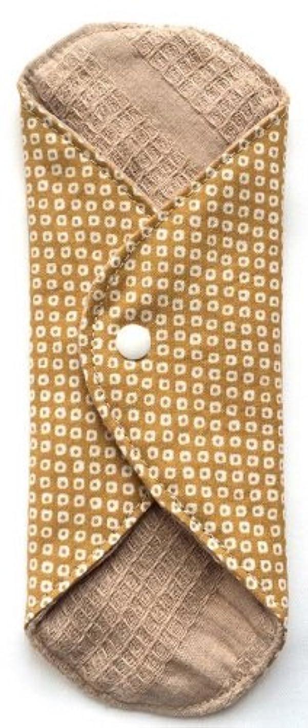 ナイトスポットキャビン誘発する華布 オーガニックコットンのあたため布 Mサイズ(約15×約15cm) 鹿の子柄(辛子)