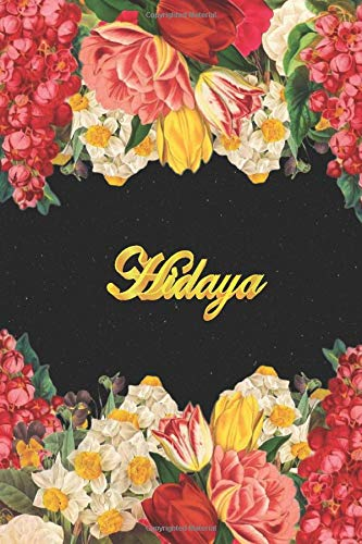 Hidaya: Lined Notebook / Journal with Personalized Name, & Monogram initial H on the Back Cover, Floral cover, Gift for Girls & Women