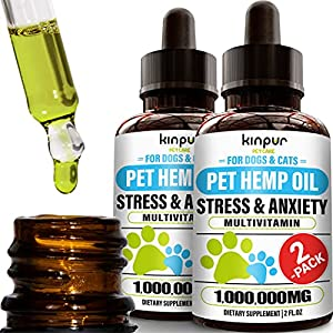 (2-Pack) Natural Hemp Oil for Dogs and Cats - Dog Calming Aid for Stress and Anxiety - Hip and Joint Health, Mobility, Immunity - Pet Hemp Oil Rich in Omega 3, 6, 9