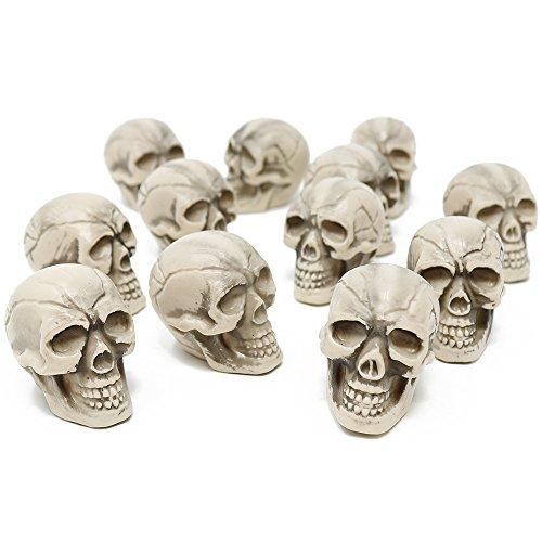 com-four® 12x Calaberas como decoración de Halloween - Calavera de los Muertos de plastico - Mini Calavera para Fiestas temáticas (12 Piezas - Mini Calavera)
