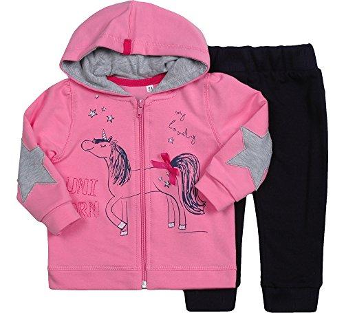 Be Mammy Be Mammy Mädchen Set Sweatshirt und Hose Unicorn 7302 (Rosa/Schwarz, 62)