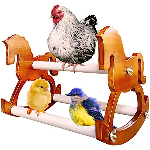 Chick Chic - XL Handmade Wood Chicken Perch Swing, Bird Stand Toy/Playground/Play Stand Ladder for Chicks, Hens, Parrots, Cockatiels, Parakeets, Macaw, Chicken Coop Decor/Gift (Rocking Horse)