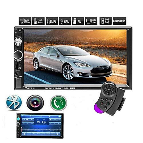 KAUTO Monitor LCD Digital con Pantalla táctil de 7', Compatible con cámara de visión Trasera, Control, Control del Volante, MP3 / USB/SD/FM, Bluetooth, estéreo/Audio/Radio de Coche de Doble DIN -