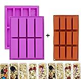 Rechteck Müsliriegel Silikonformen, 2er Pack 8 Cavity + 1 Pack 12 Cavity Nutrition...