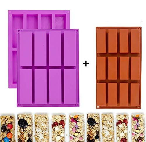 Moldes rectangulares de silicona para barras de granola, moldes para barras de cereales nutricionales, máquina para hacer barras de energía para hornear pan, brownie, tarta de queso (paquete de 3)
