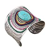YAZILIND Mujeres Bohemia Vintage Plata Turquesa Abalorios Engrave de Gran Acanalado Abierto Brazalete Brazalete Retro étnico Pulsera Azul