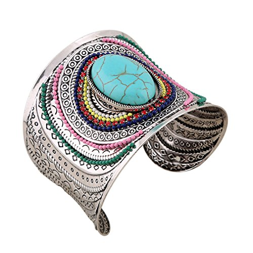 YAZILIND Women Bohemian Vintage Silver Turquoise Beaded Engrave Wide Grooved Open Cuff Bangle Retro Ethnic Bracelet Blue