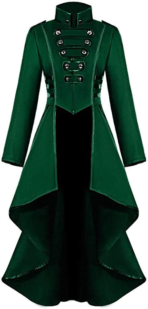 Womens Stand Collar Long Military Steampunk Coat Gothic Cheap sale B Regular discount Trench