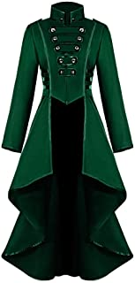 Women's Gothic Tailcoat Steampunk Jacket Long Sleeve Button Long Coat Vintage Halloween Costume for Women by Chaofanjiancai